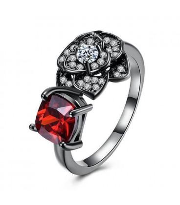 ékszer webshop Fekete virág, rubinpiros kővel díszített gyűrű