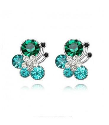 ékszer webshop Türkiz kristályos pillangó fülbevaló