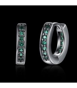ékszer webshop Fekete karika fülbevaló smaragdzöld kristályokkal