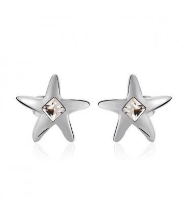 ékszer webshop Swarovski kristályos csillag fülbevaló, ródium