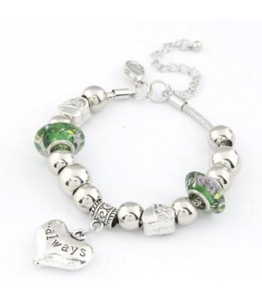 ékszer webshop Pandora stílusú charm karkötő- zöld