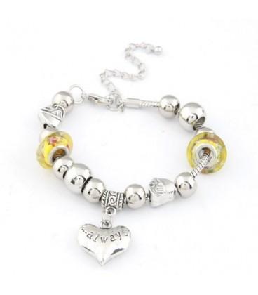 ékszer webshop Pandora stílusú charm karkötő - sárga