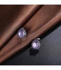 Fekete csepp fülbevaló, lila kristállyal