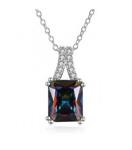 Elegáns, négyzetes kristály medál nyaklánccal, ródium bevonattal