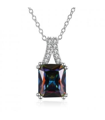 ékszer webshop Elegáns, négyzetes kristály medál nyaklánccal