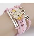 Rózsaszín fonott karkötő - Hello Kitty