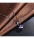 ékszer webshop Fekete bevonatú csepp medál+nyaklánc, lila
