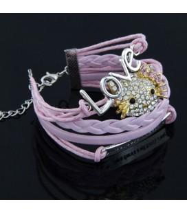 ékszer webshop Rózsaszín fonott karkötő - Hello Kitty