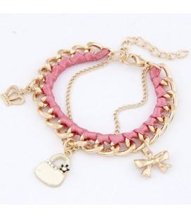 ékszer webshop Rózsaszín retikül charm karkötő
