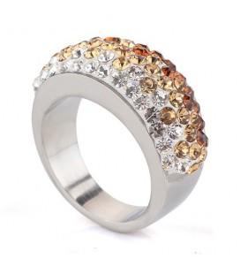 Arany-fehér kristályos nemesacél gyűrű