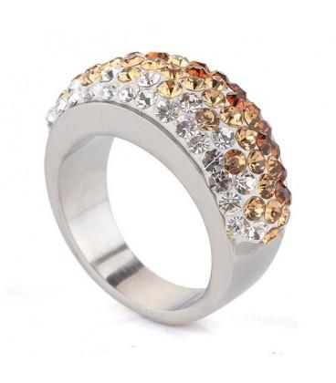 ékszer webshop Arany-fehér kristályos nemesacél gyűrű