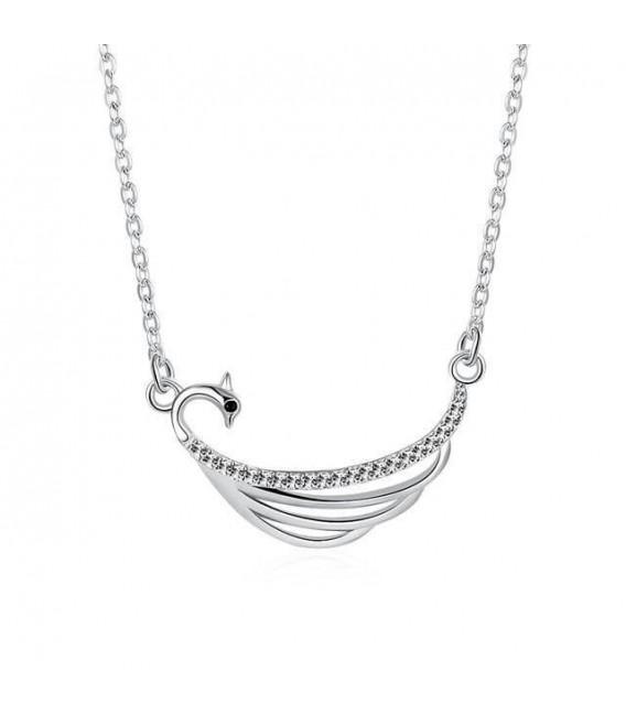 Ezüst hattyú nyaklánc cirkóniával