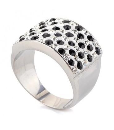 ékszer webshop Fekete-fehér kristályos nemesacél gyűrű