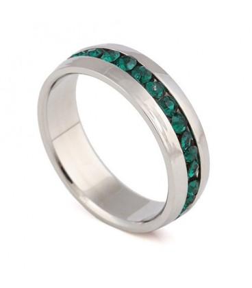 ékszer webshop Zöld kristályos nemesacél gyűrű