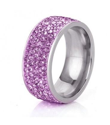 ékszer webshop Lila kristályos, 5 soros nemesacél gyűrű