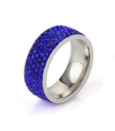 ékszer webshop Sötétkék kristályos, 5 soros nemesacél gyűrű