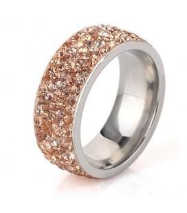 Arany kristályos, 5 soros nemesacél gyűrű