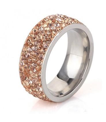 ékszer webshop Arany kristályos, 5 soros nemesacél gyűrű