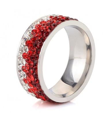 ékszer webshop Piros kristályos, színátmenetes nemesacél gyűrű