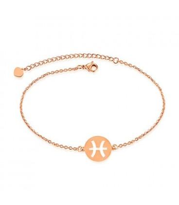 Horoszkópos nemesacél karkötő, rozé arany bevonattal - Halak