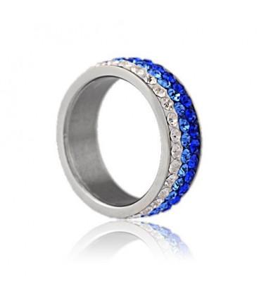 ékszer webshop Kék kristályos, színátmenetes nemesacél gyűrű