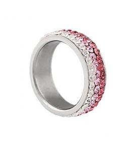 Rózsaszín kristályos, színátmenetes nemesacél gyűrű