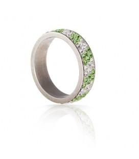 Zöld-fehér kristályos nemesacél gyűrű