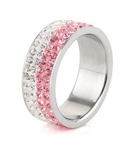 Rózsaszín-fehér kristályos, 4 soros nemesacél gyűrű