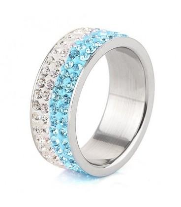 ékszer webshop Kék-fehér kristályos, 4 soros nemesacél gyűrű