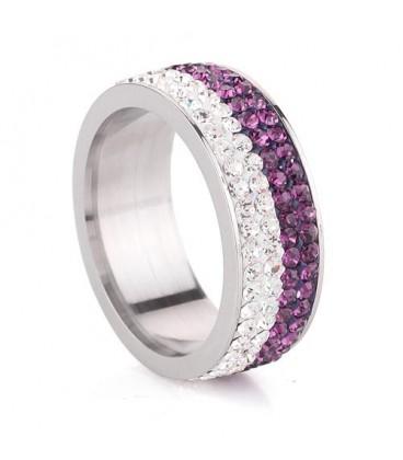 ékszer webshop Lila-fehér kristályos, 4 soros nemesacél gyűrű