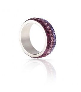 Lila kristályos, színátmenetes nemesacél gyűrű