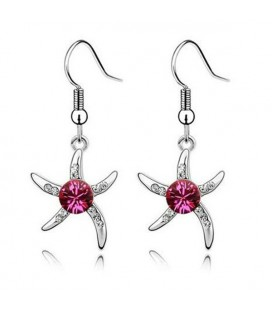 ékszer webshop Rózsaszín kristályos tengeri csillag fülbevaló