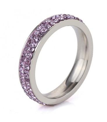 ékszer webshop Lila kristályos, 2 soros nemesacél gyűrű