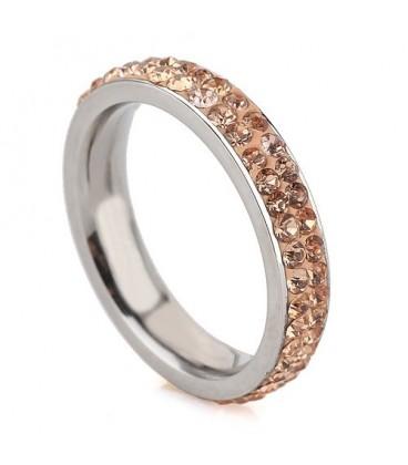 ékszer webshop Arany kristályos, 2 soros nemesacél gyűrű