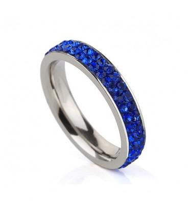 ékszer webshop Sötétkék kristályos, 2 soros nemesacél gyűrű