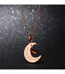 Hold és szív nemesacél nyaklánc Mom felirattal
