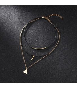 Tripla soros műbőr nyaklánc titánium díszekkel - Háromszög