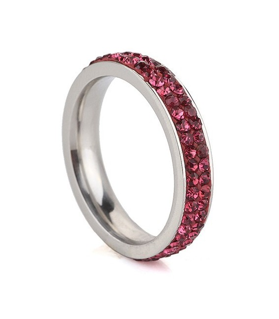 ékszer webshop Pink kristályos, 2 soros nemesacél gyűrű