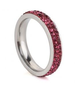 Pink kristályos, 2 soros nemesacél gyűrű