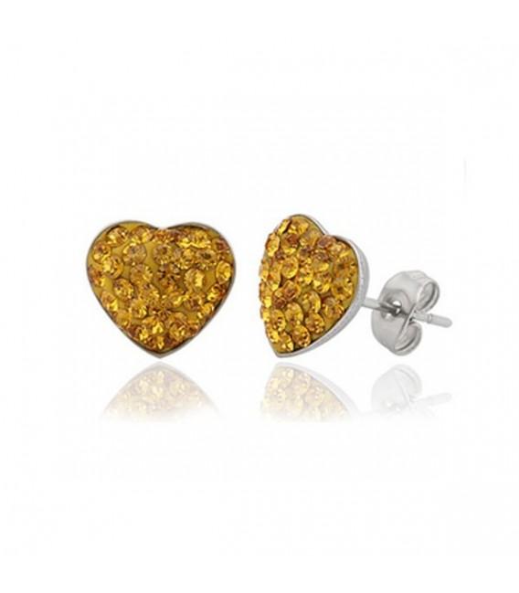 Sárga kristályos, szív alakú nemesacél fülbevaló