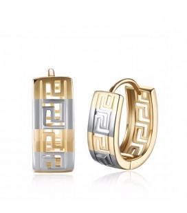 Gold filled ovális fülbevaló görög mintával