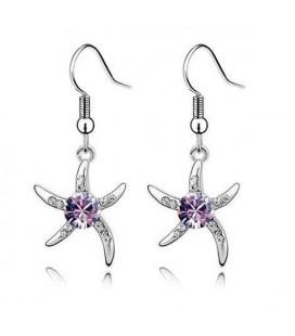 ékszer webshop Lila kristályos tengeri csillag fülbevaló