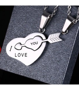 Összeilleszthető - törhető közös szív & nyíl medál - Pároknak & szerelmeseknek