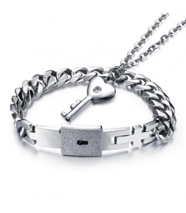 Páros karkötő és nyaklánc szett - Kulcs a szívedhez