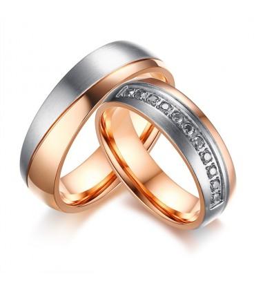 Kéttónusú prémium férfi karikagyűrű nemesacélból - rozé arany