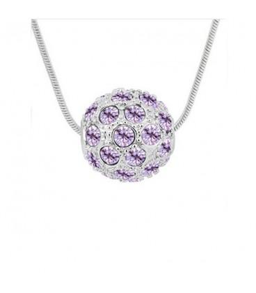 ékszer webshop Lila kristályos shamballa nyaklánc