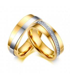 Kristály sávos női nemesacél karikagyűrű