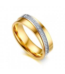 Kristály sávos exkluzív női nemesacél karikagyűrű