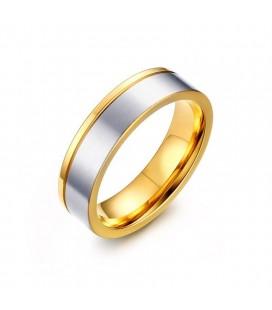 Arany sávos, kéttónusú férfi nemesacél karikagyűrű