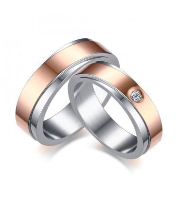 Rozé arany sávos női nemesacél karikagyűrű